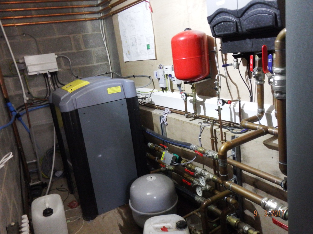 The machinery of Ground Source Heat Pumps at Pontyates