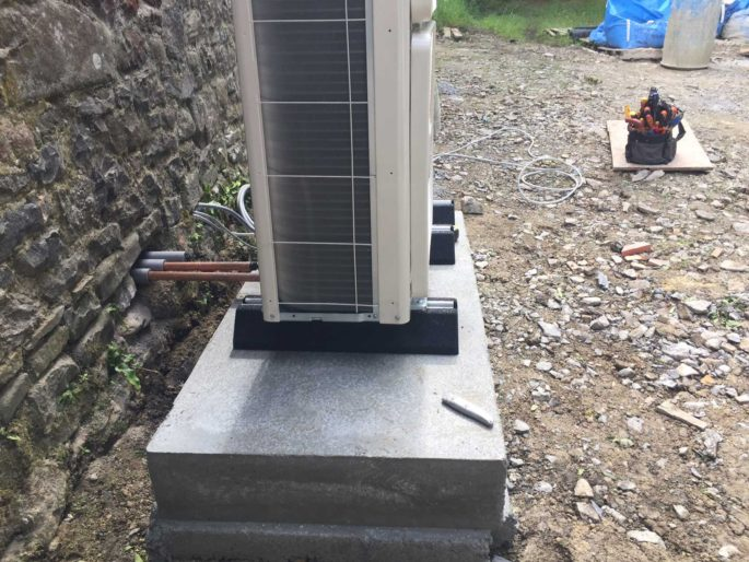 Air Source Heat Pump on anti vibration feet